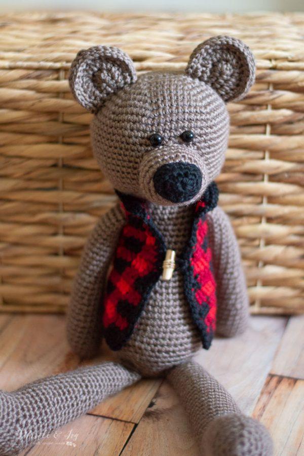 cute darling crochet teddy bear crochet pattern with buffalo plaid vest and toggle