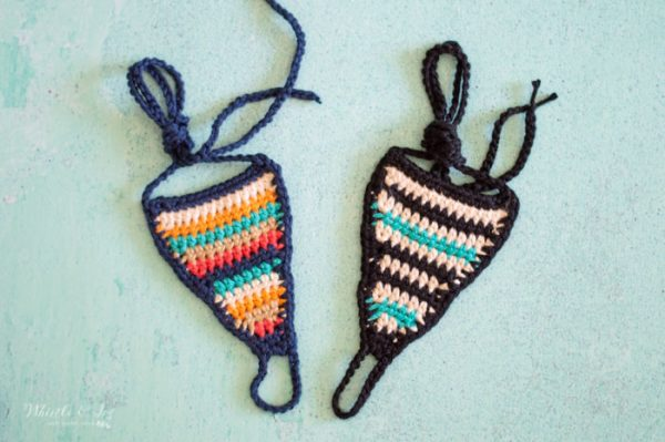 crochet barefoot sandals with colorful serape style stripes southwest modern
