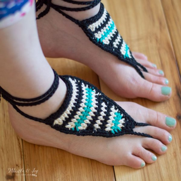 crochet barefoot sandals free pattern with serape southwest style stripes
