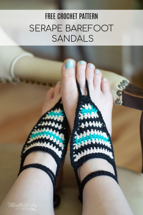 striped serape crochet barefoot sandals free crochet pattern