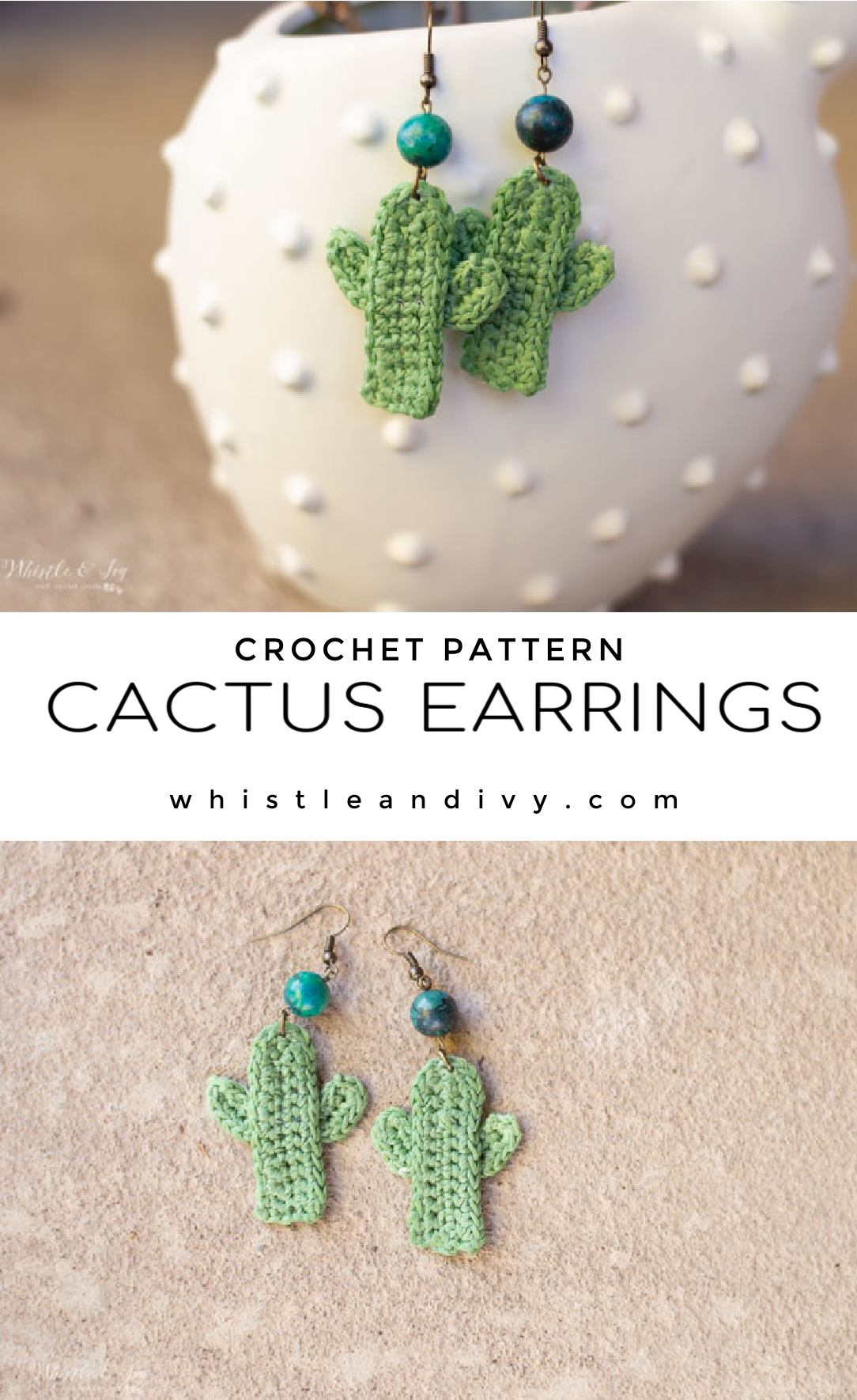 crochet cactus earrings cute diy earrings crochet pattern