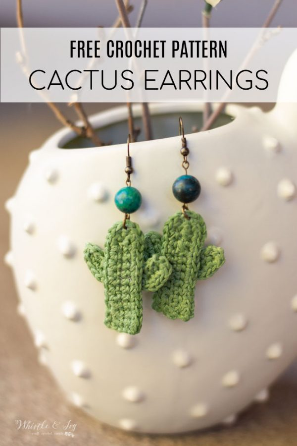 boho desert chic crochet cactus earrings free crochet pattern