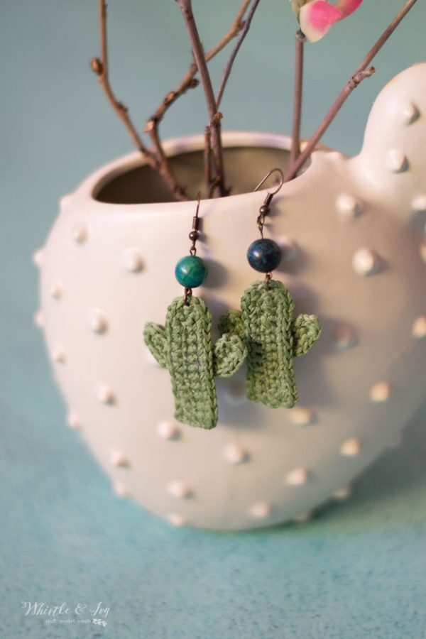 cute diy earrings cactus earrings crochet pattern easy crochet gift idea