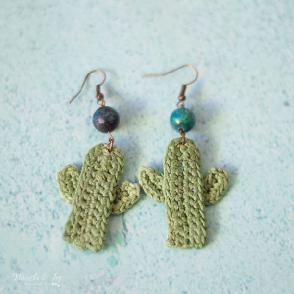 crochet cactus earrings with beads crochet pattern