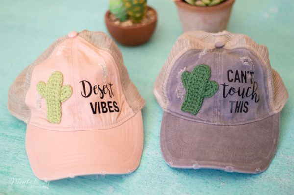 cute trendy womens baseball cap with crochet cactus appliqué desert vibes