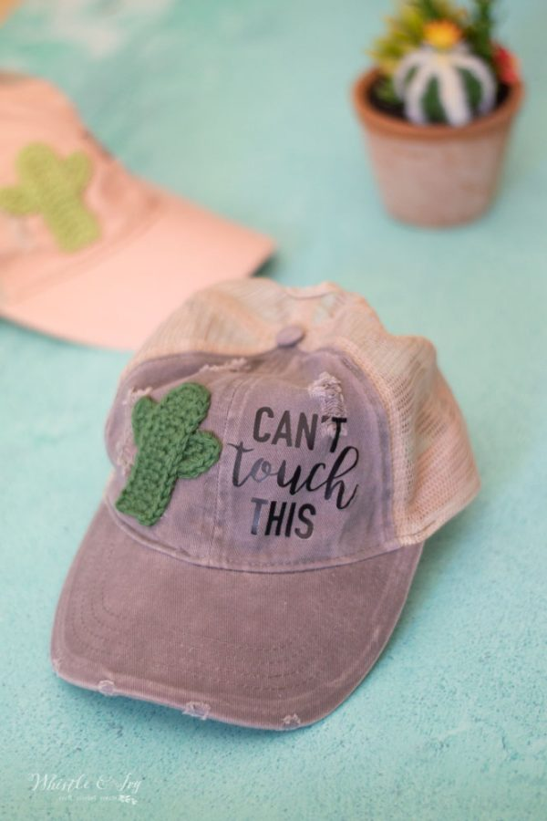 women's desert cactus baseball hat crochet pattern tutorial cactus appliqué