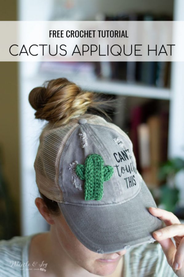 women baseball hat with crochet cactus appliqué