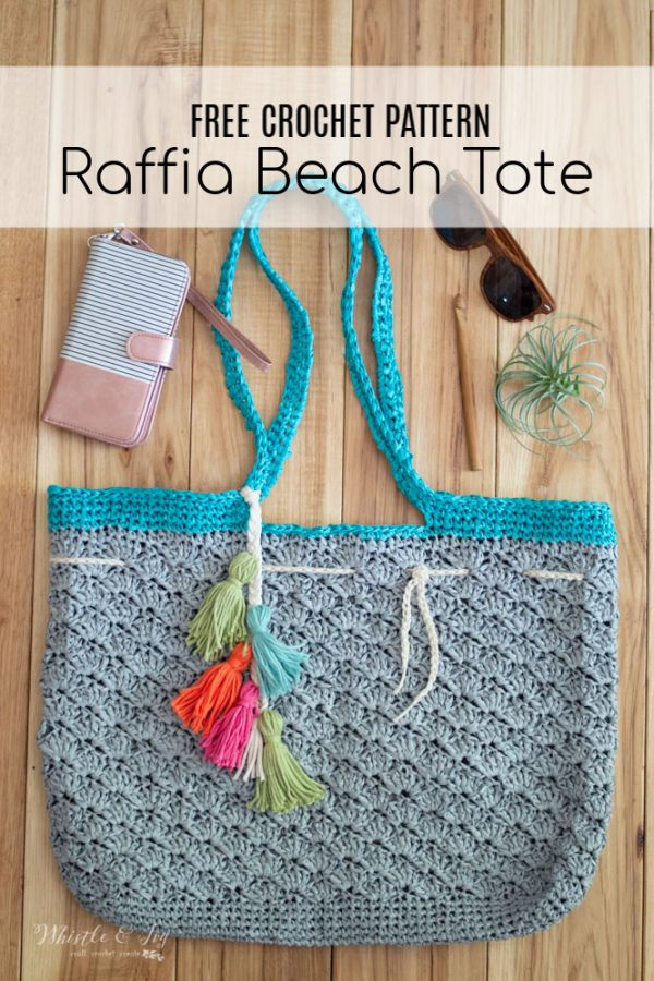 crochet beach bag for summer with raffia yarn free crochet pattern
