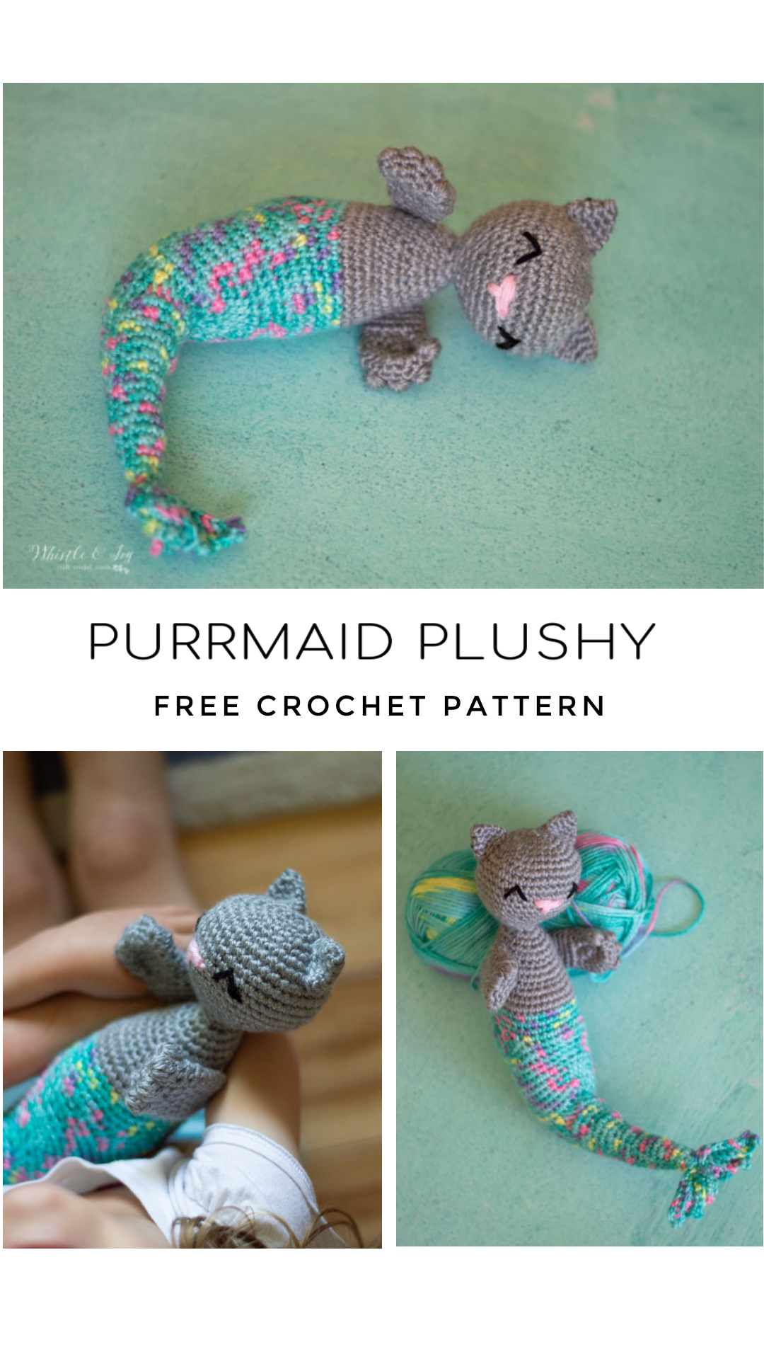 crochet toy cat mermaid with colorful tail crochet video tutorial