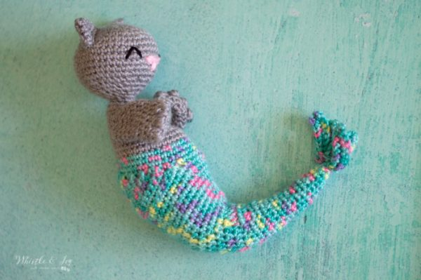 crocher merkitty crochet cat mermaid plush toy