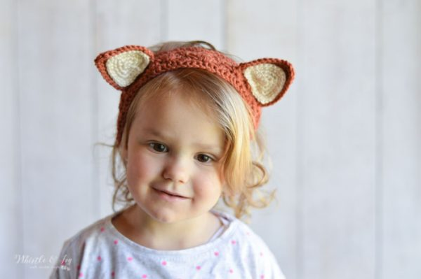 crochet fox headband for kids and toddler free pattern