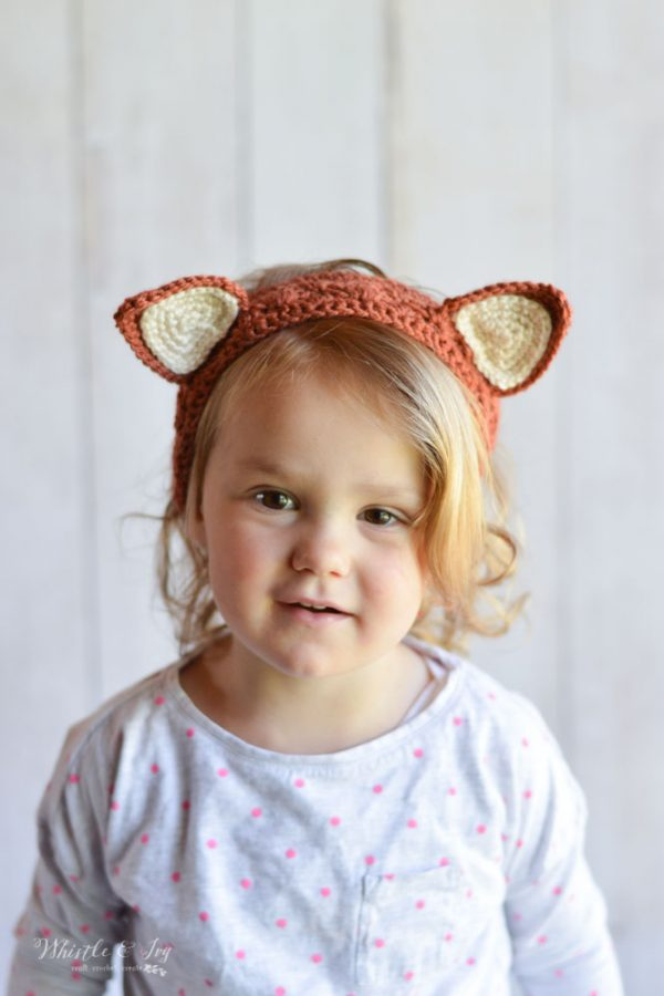 fox ears crochet headband free crochet pattern for kids and toddler