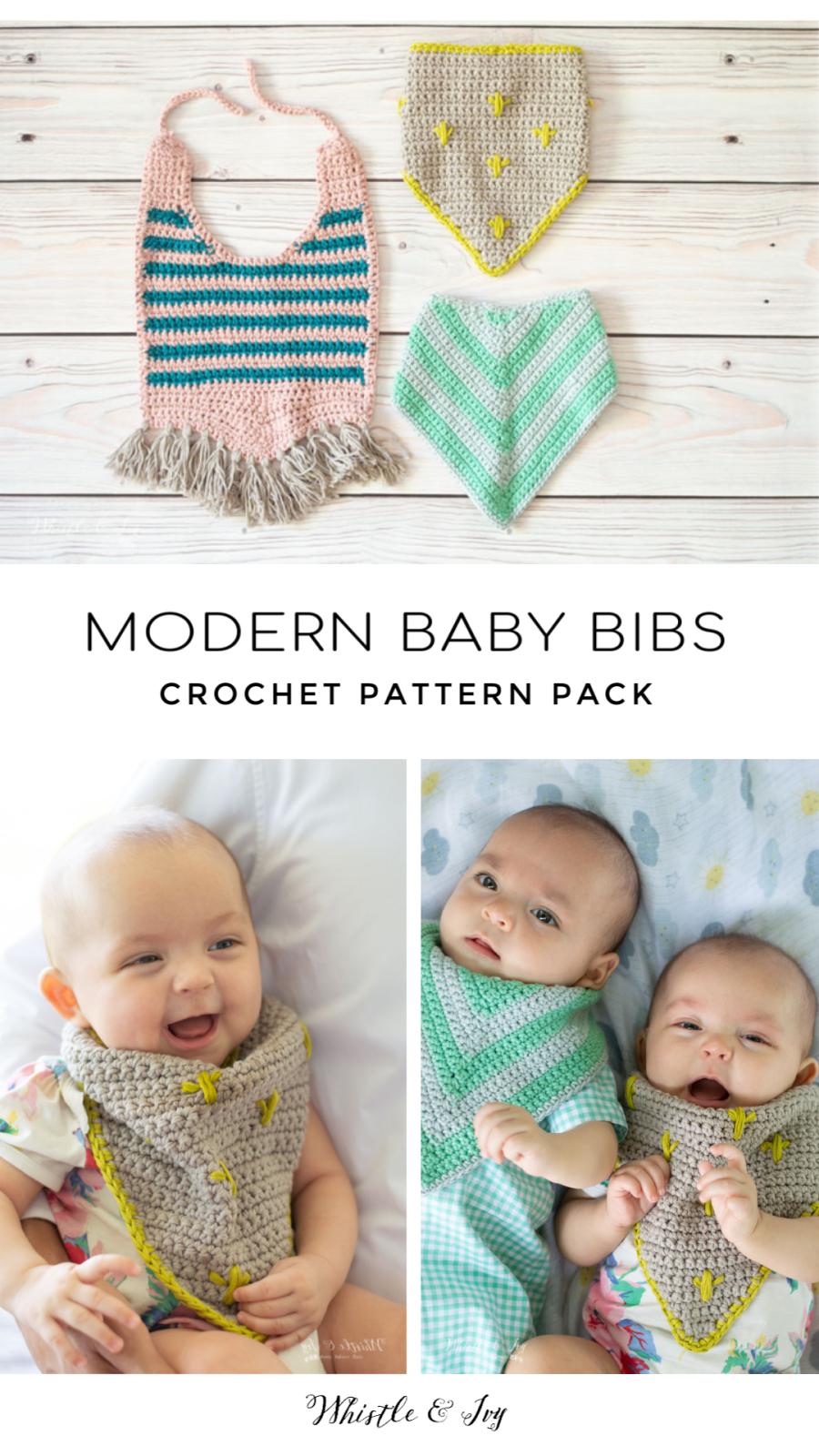 modern crochet baby bibs cactus fringe free crochet pattern
