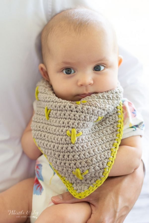 modern crochet baby bib crochet pattern cactus cactuses embroidery