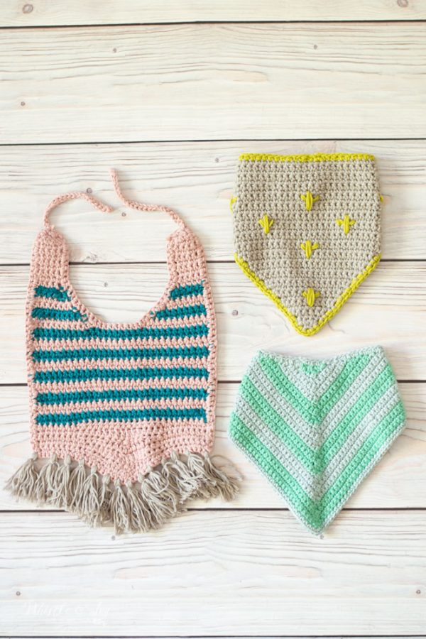 modern crochet baby bib crochet patterns cactus stripes and chevron
