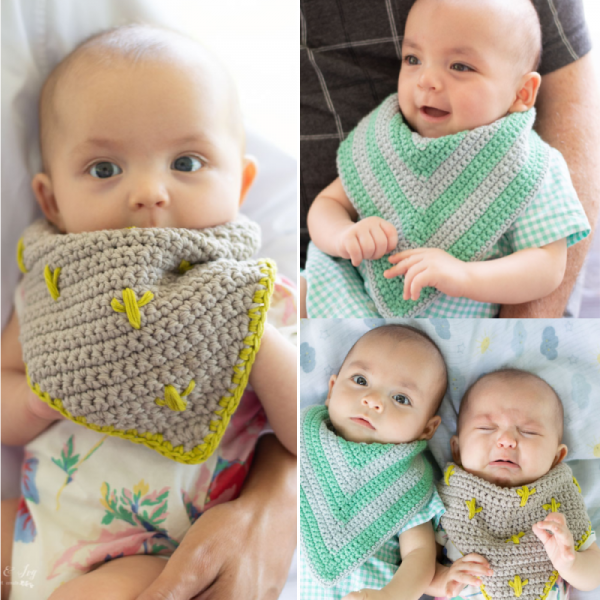 modern crochet baby bib crochet pattern cactus print chevron and stripes