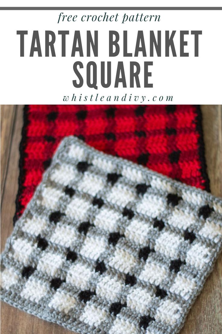 crochet tartan blanket square free crochet pattern