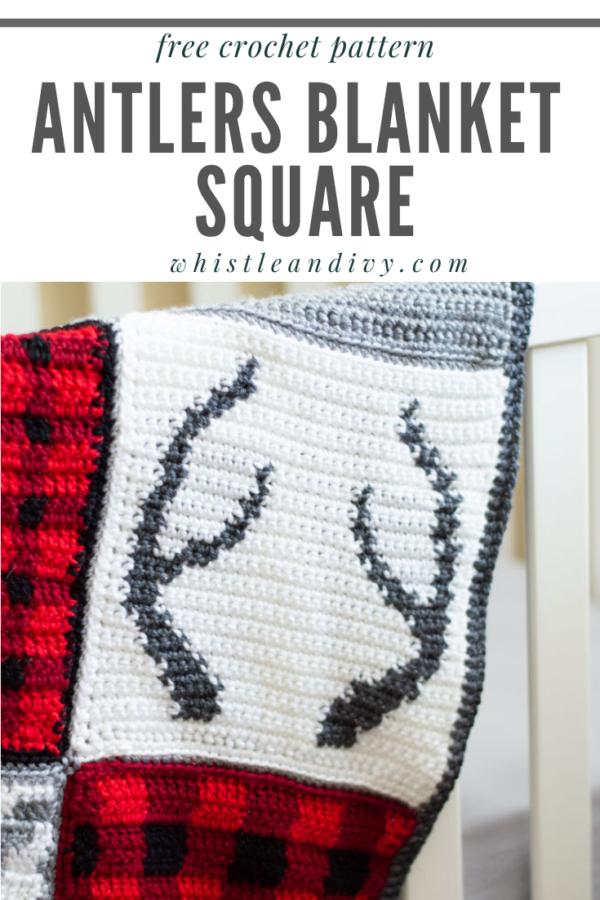 crochet antlers blanket square free pattern
