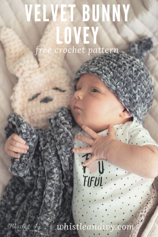 crochet lovey bunny pattern made with velvet yarn