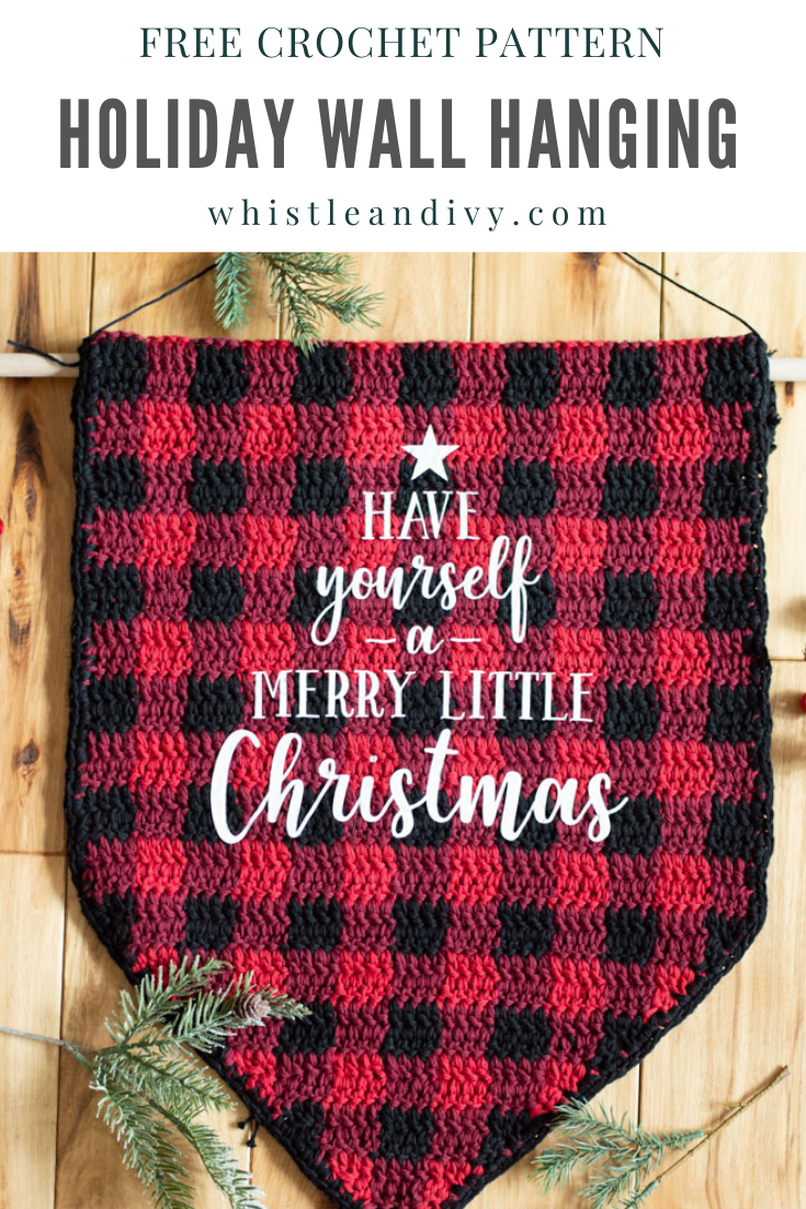 crochet plaid wall hanging Christmas holiday free crochet pattern