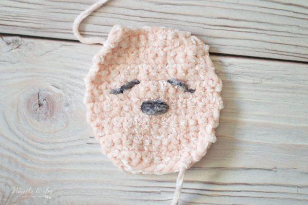 bunny face for crochet velvet bunny lovey