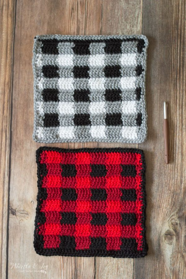 crochet blanket buffalo plaid square block