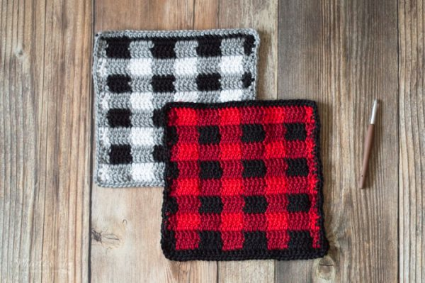 crochet buffalo plaid afghan square free crochet pattern