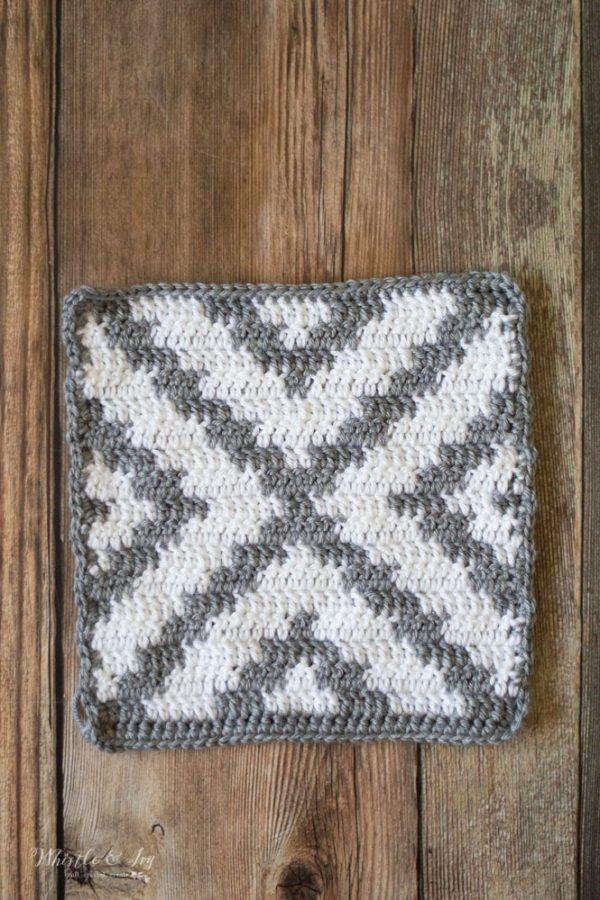 geometric pattern afghan square free crochet pattern