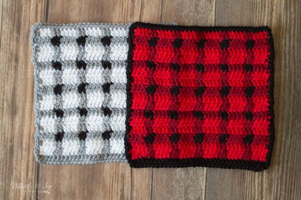 tartan plaid crochet blanket square free crochet pattern