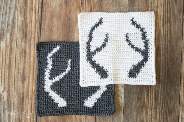 blanket square crochet antlers afghan square free crochet pattern