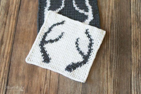 deer crochet antlers blanket square free crochet pattern