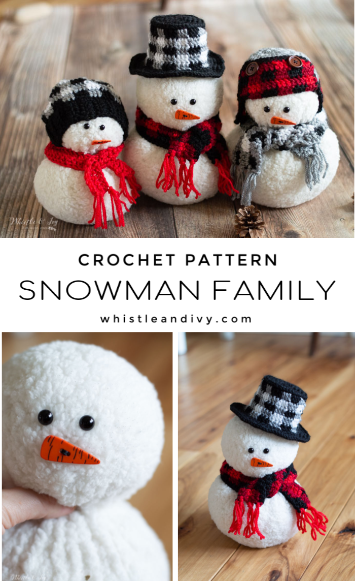 crochet snowman family with crochet plaid DIY