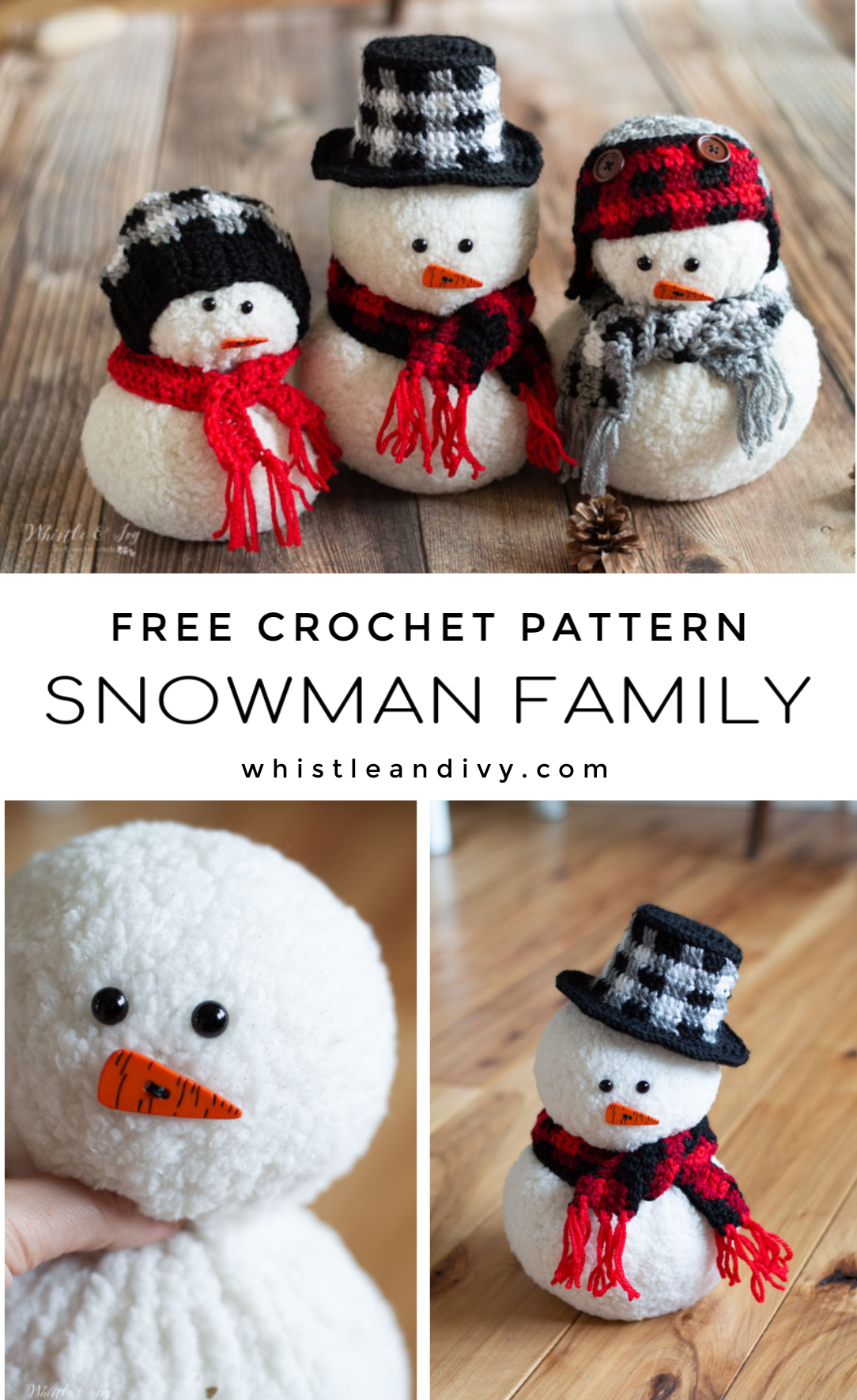 crochet snowman plaid crochet pattern