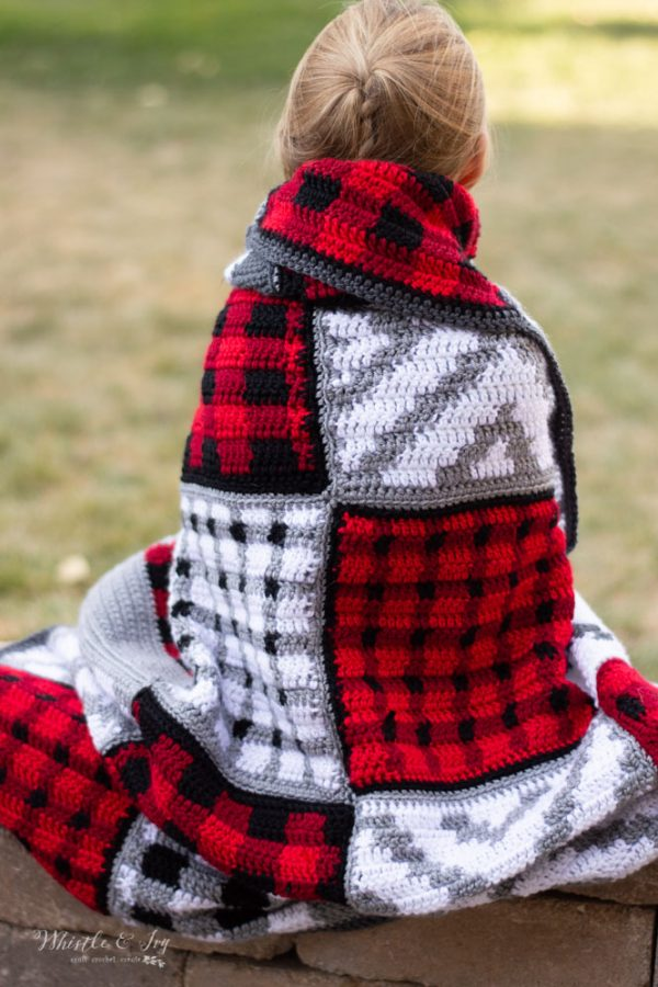 free crochet pattern buffalo plaid patchwork blanket