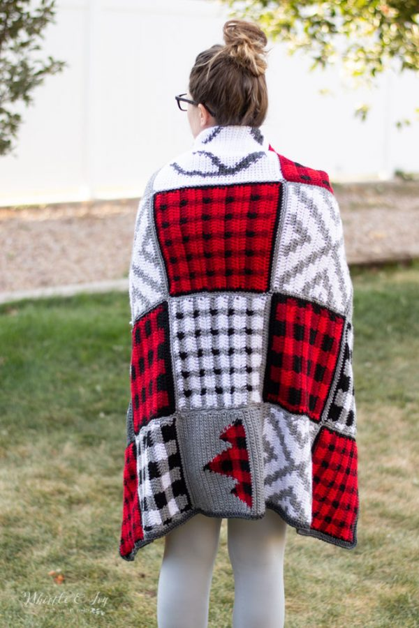 crochet plaid patchwork blanket free crochet pattern buffalo plaid