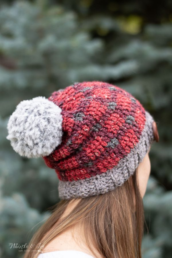 tweed tartan plaid crochet hat slouchy hat free crochet pattern