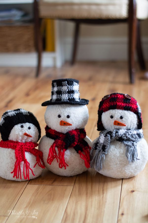 rochet snowman plaid crochet pattern