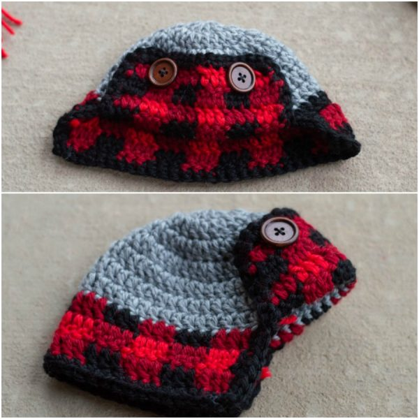 crochet plaid hat for snowman decor free pattern