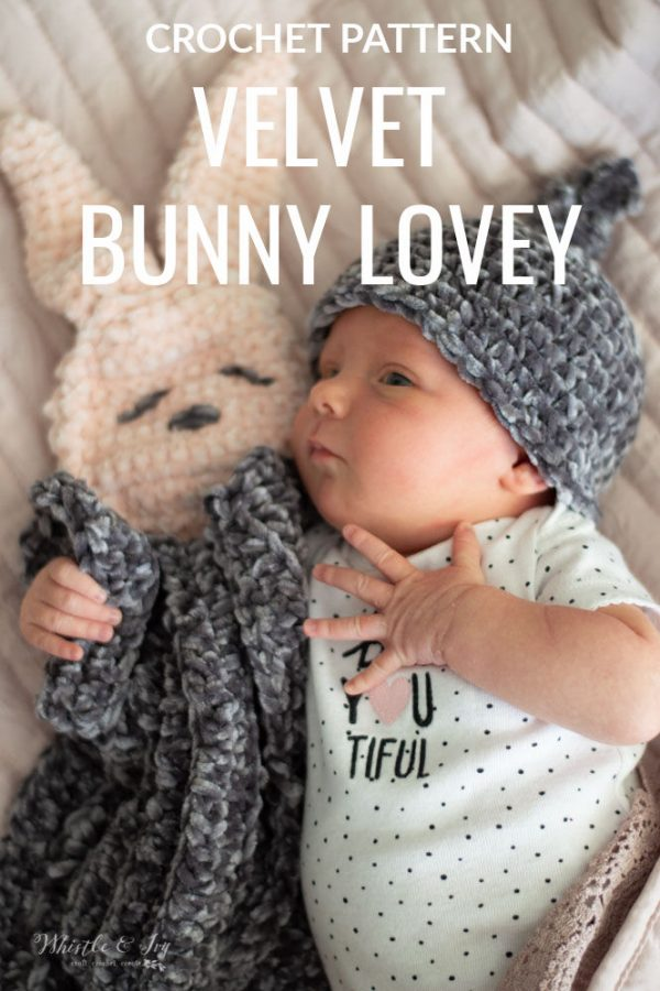 cute velvet crochet hat bunny lovey crochet pattern