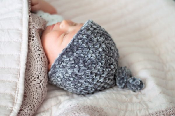crochet velvet top knot hat for newborn pattern
