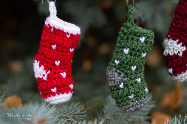 mini crochet knit stitch stocking ornament free crochet pattern