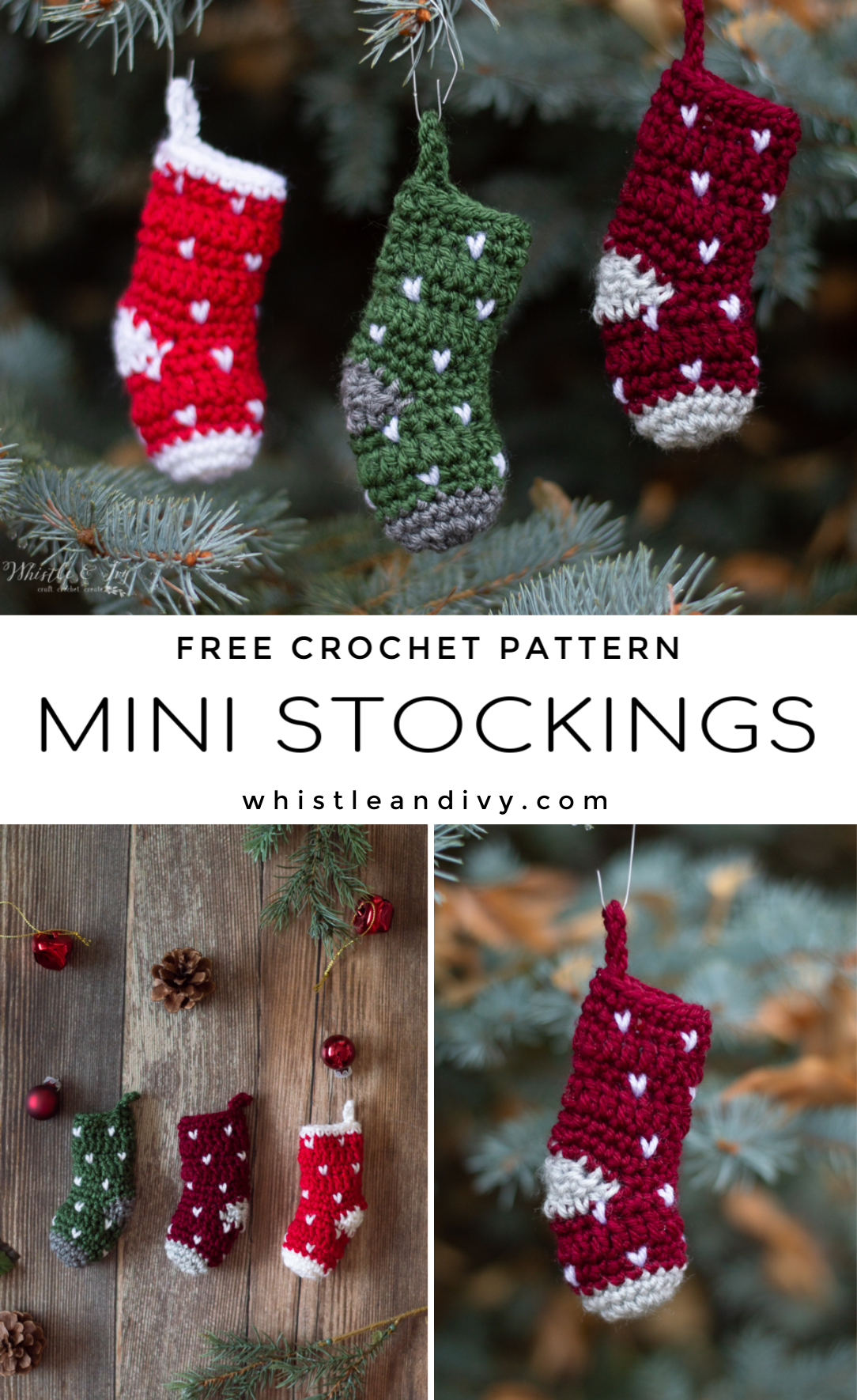 mini knit stitch stocking free crochet pattern