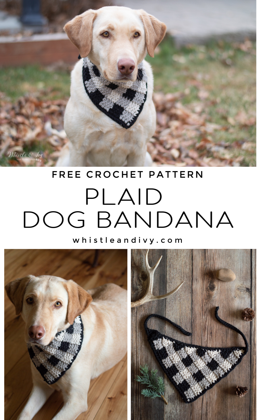 plaid crochet dog bandana free crochet pattern