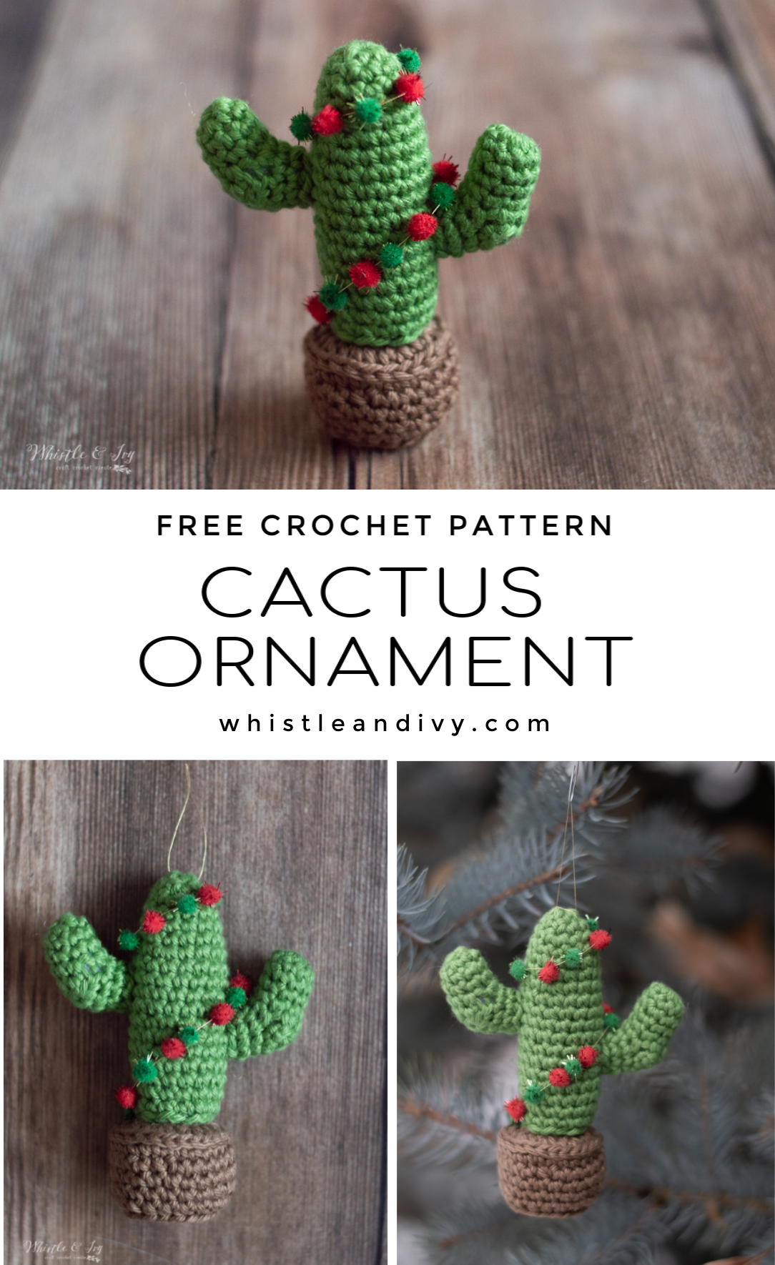 crochet cactus ornament free crochet pattern holiday Christmas