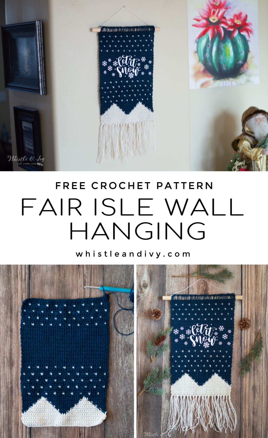 crochet fair isle wall hanging free crochet pattern
