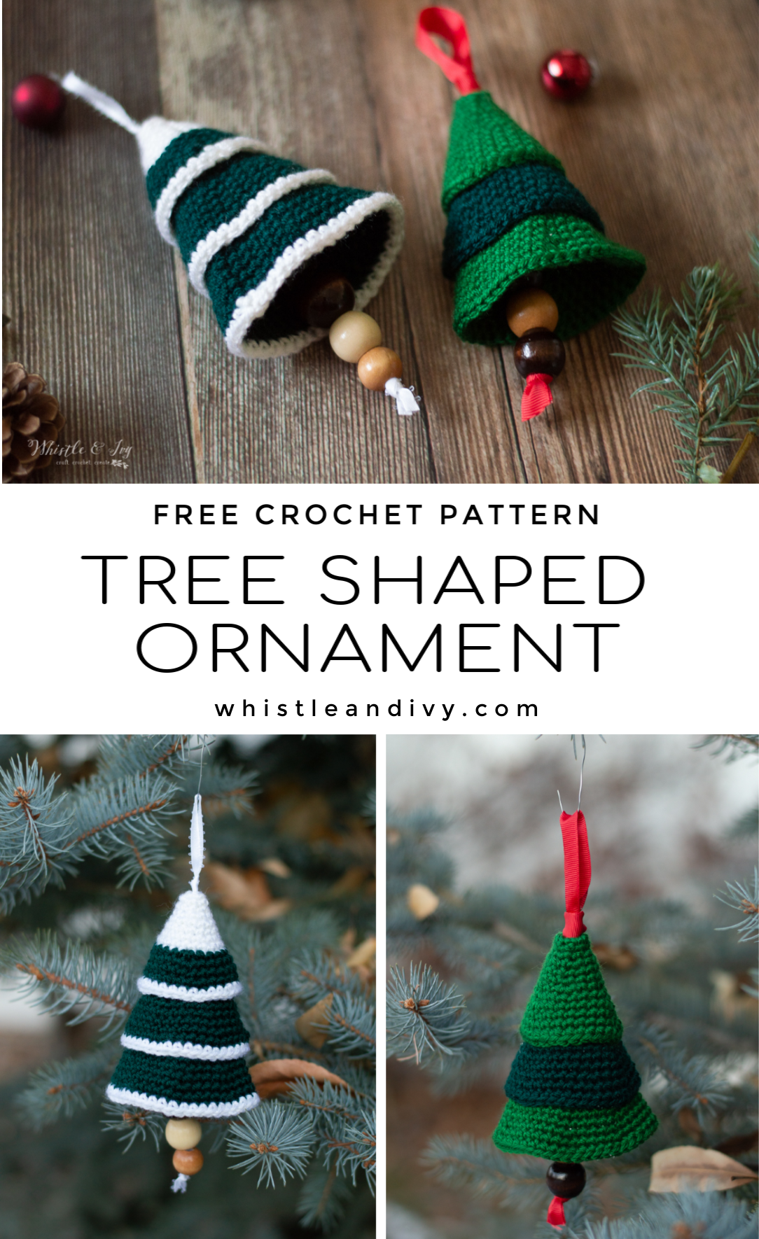 cute crochet tree shaped ornament for Christmas and holiday free pattern