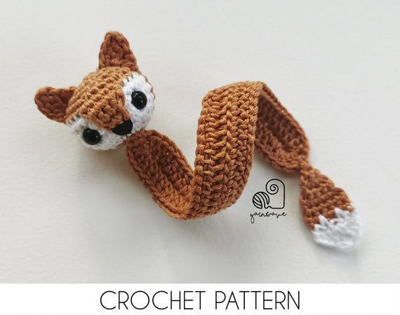 CROCHET PATTERN Simple Fox Bookmark crochet amigurumi bookmark / Handmade gift for book lovers