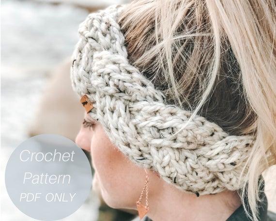 Headband Pattern / Braided Chunky Headband / Crochet Pattern / Quick and Easy crochet pattern / Ear Warmer Pattern / PDF Crochet Pattern