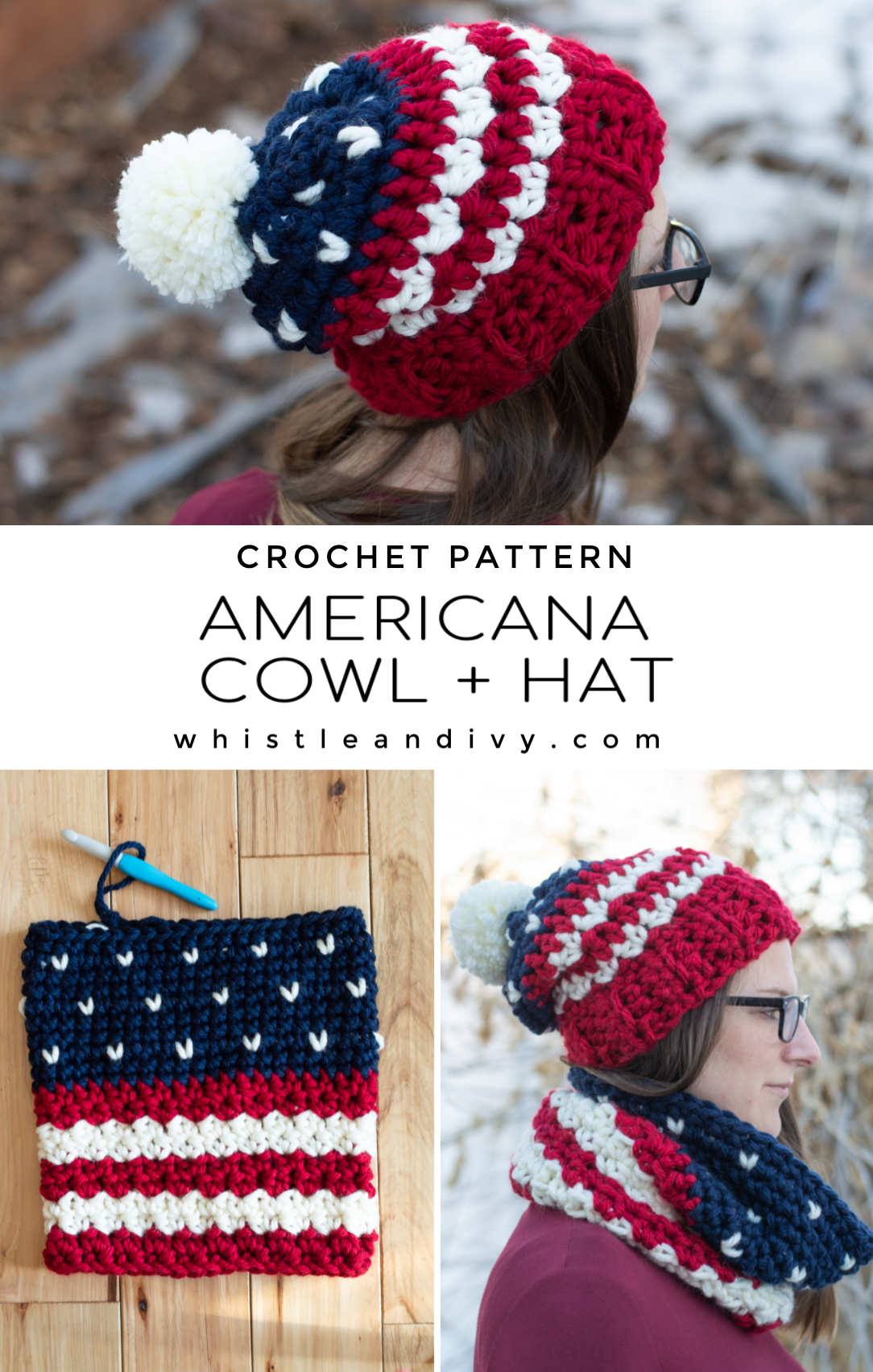 free crochet pattern Americana USA patriotic crochet hat and cowl pattern
