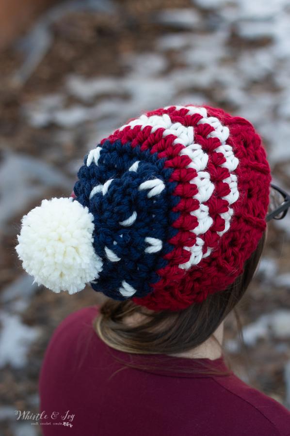 American crochet hat free crochet pattern chunky yarn